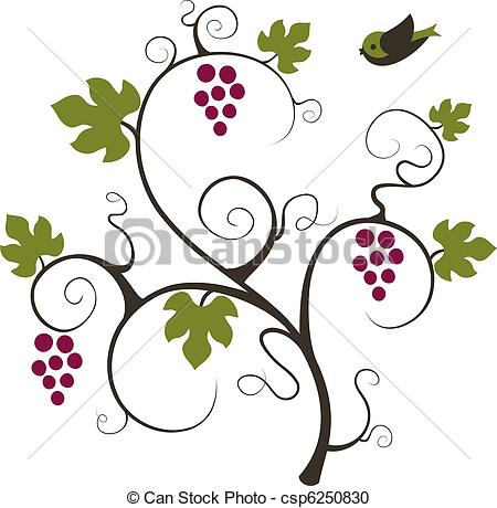 Vector Clipart Of Grape Vine And Bird Vector Illustration Csp6250830