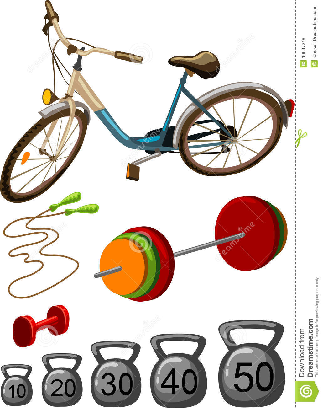 Vector Colorful Illustration Of Sport Gym Equipment   Height Bicycle