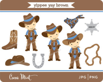 Yippee Yay Cowboy Clip Art By Cocoamint On Etsy