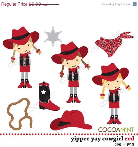 Yippee Yay Cowgirl Red Clip Art By Cocoa Mint   Catch My Party