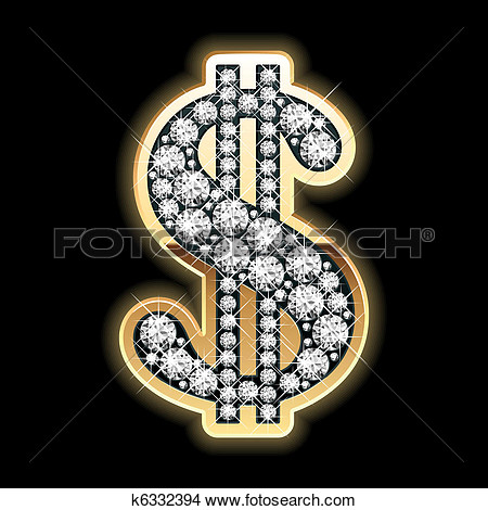 Bling Bling  Dollar Symbol  View Large Clip Art Graphic