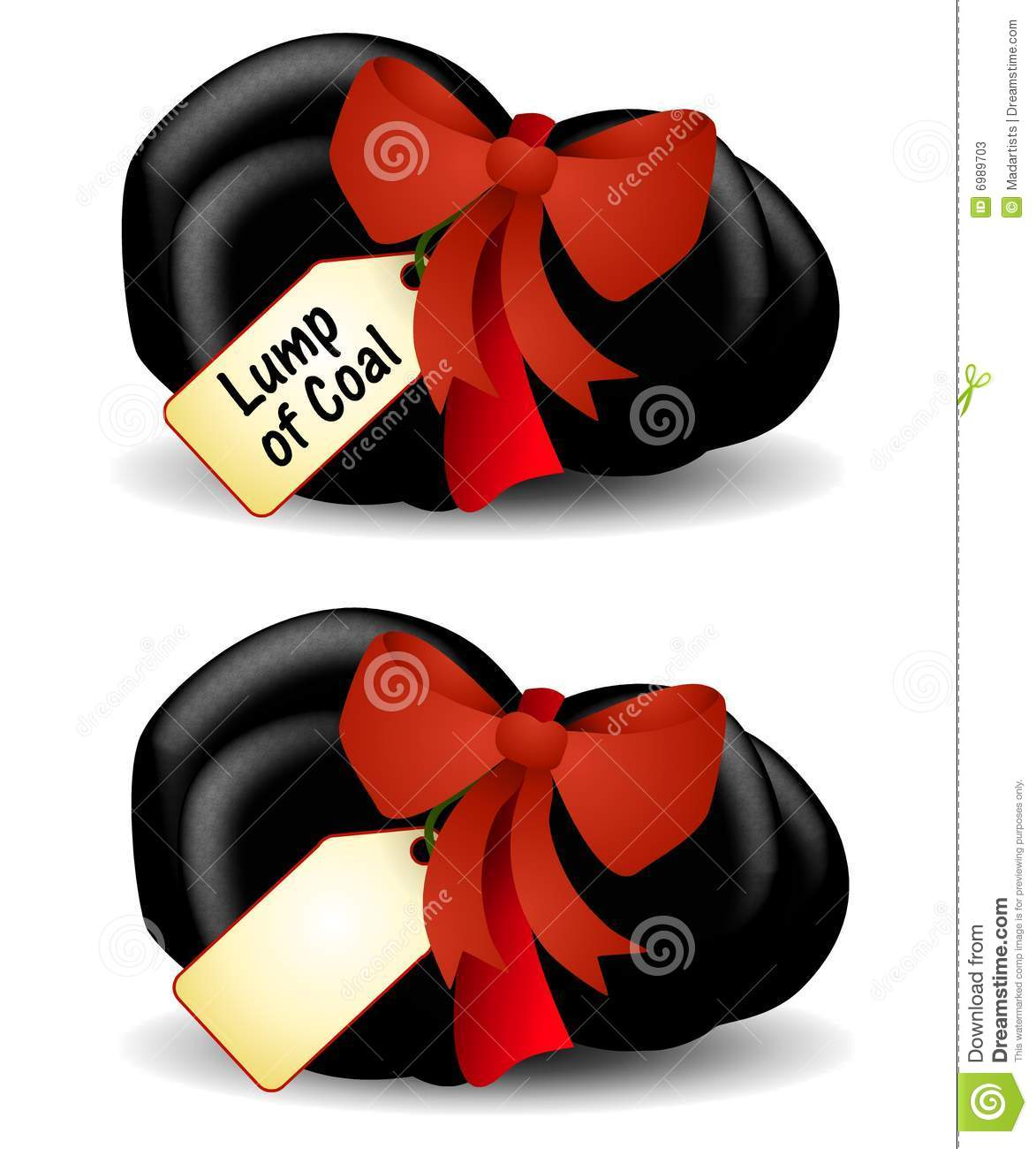 Clip Art Illustration Featuring A Lump Of Coal Wrapped In A Bow With
