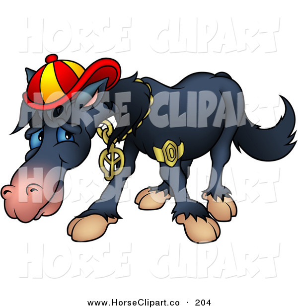 Clip Art Of A Cool But Shy Black Horse Wearing Bling And A Hat By