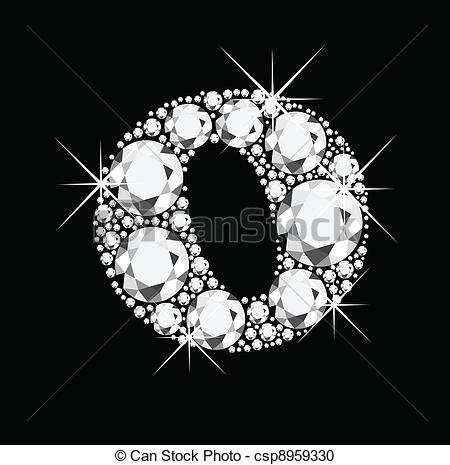 Clipart Of O Letter With Diamonds Bling Bling Csp8959330   Search Clip