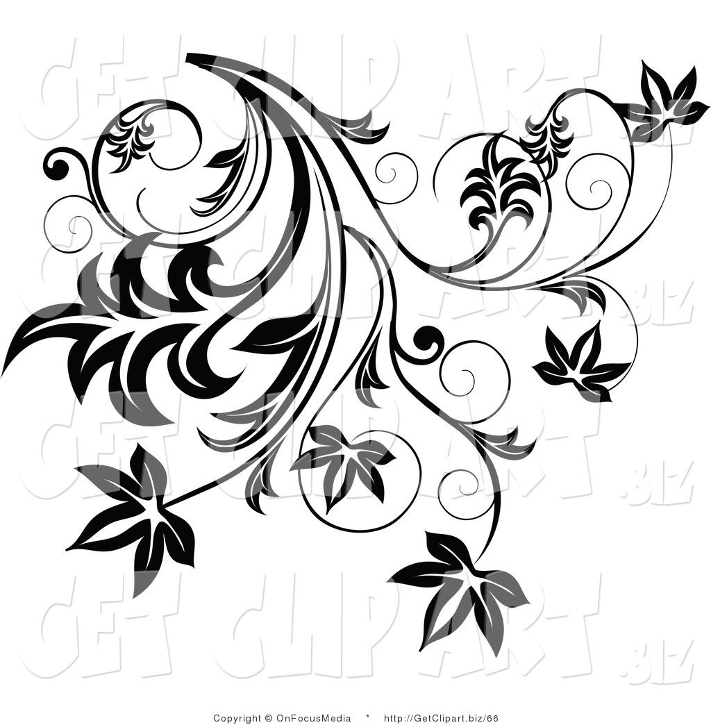 Curl Clipart Clip Art Of A Black Flourish With Leaves And Curly