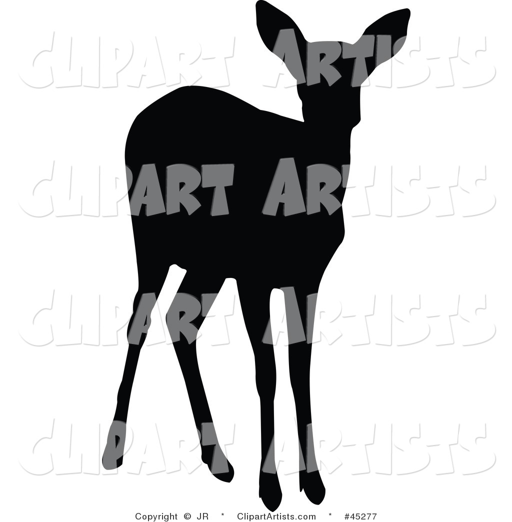 Fawn Clipart Black And White Vector Silhouetted Deer Clipart By Jr