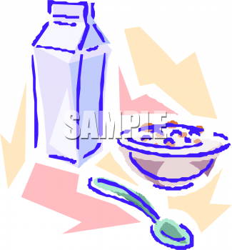 Quart Of Milk And A Bowl Of Cereal Clipart Picture   Foodclipart Com