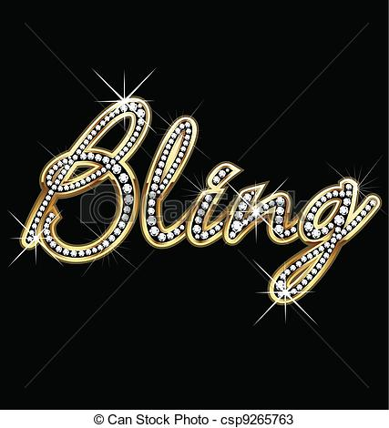 Vectors Of Bling Bling Word Vector Csp9265763   Search Clip Art