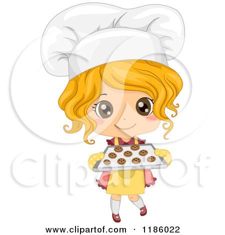 Caucasian Baker Girl Holding Fresh Cookies Royalty Free Vector Clipart