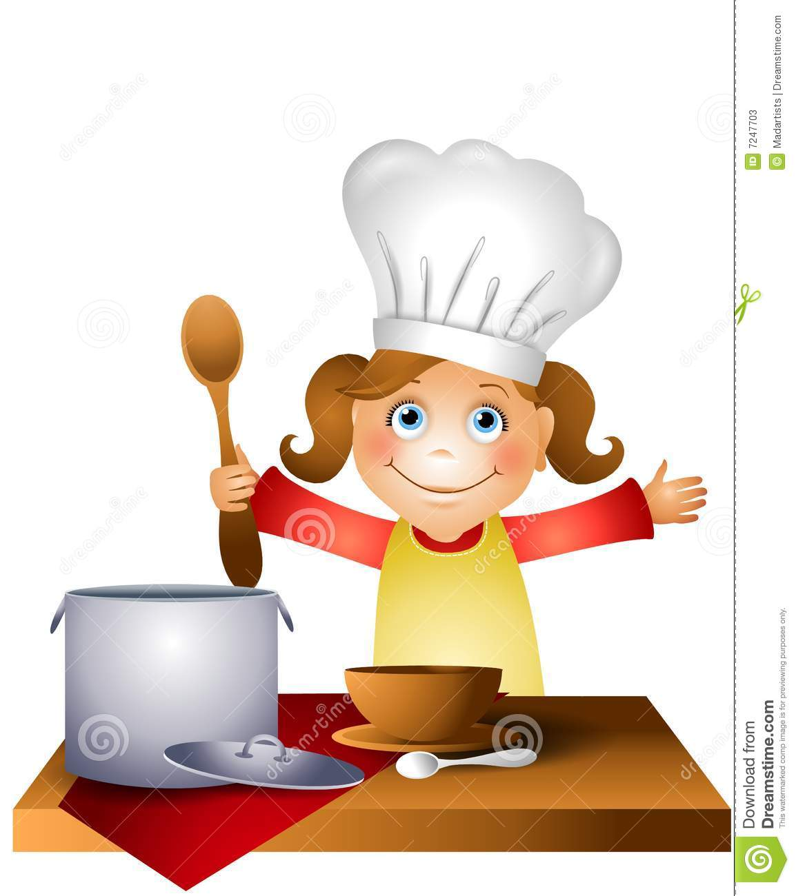 Clip Art Illustration Featuring A Little Girl Wearing A Chef Hat
