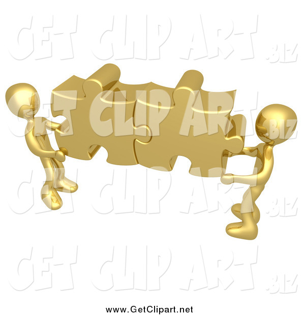Clip Art Of 3d Gold Guys Holding Together Puzzle Pieces To Find A