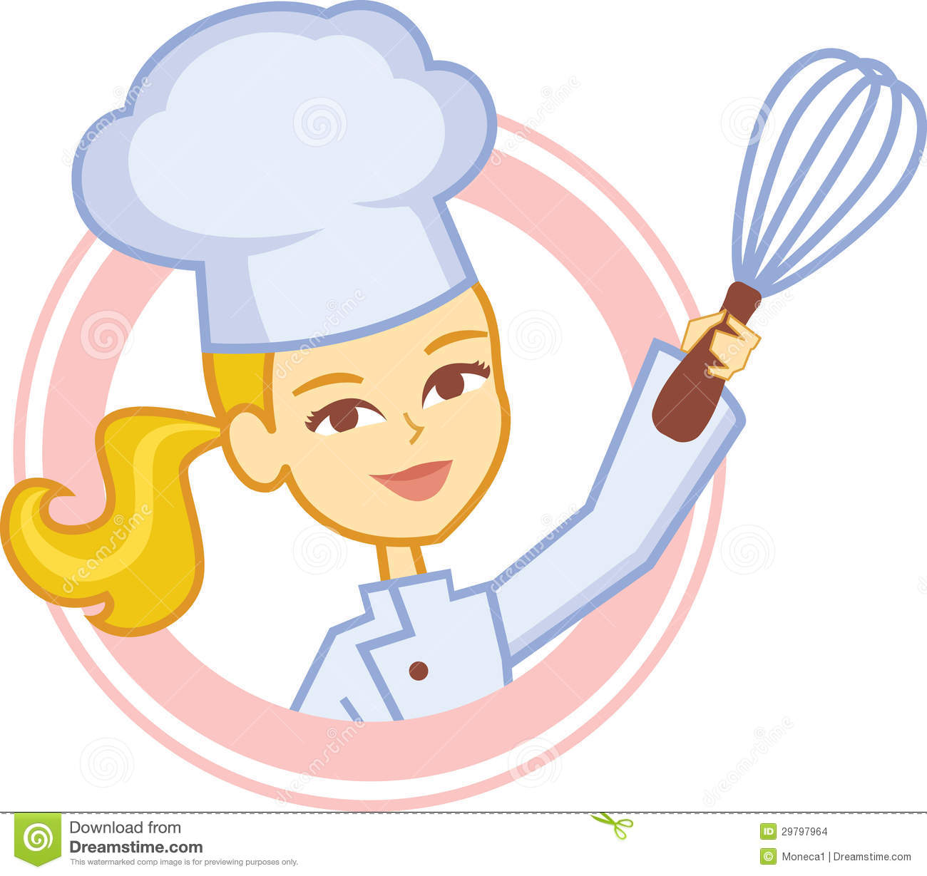 Design With A Blonde Cartoon Girl Baker Wearing Chef Apron And Chef