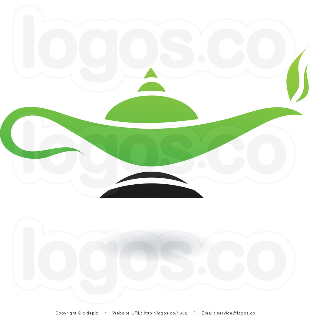 Genie Clipart Royalty Free Light Green And Black Magic Lamp Logo By