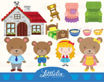 Goldilock And Three Bears Clipart S Et  Digital Download 14017