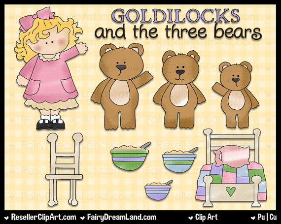 Goldilocks And Three Bears Digital Clip Art   Commercial Use Graphic