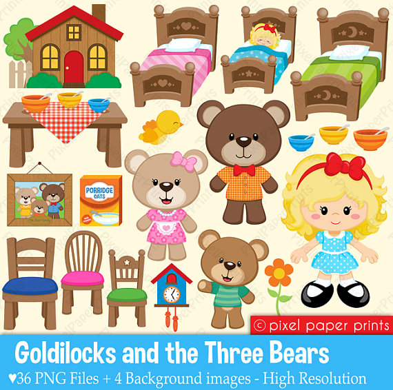 Goldilocks   The Three Bears   Clipart And Digital Paper Set By Pixel