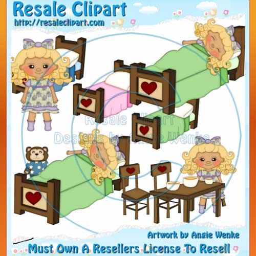 Goldilocks   Three Bears Clipart Exclusives 3  Commercial Use Clipart