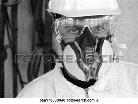 Hard Hat Dust Mask And Glasses Close Up B W View Large Photo Image