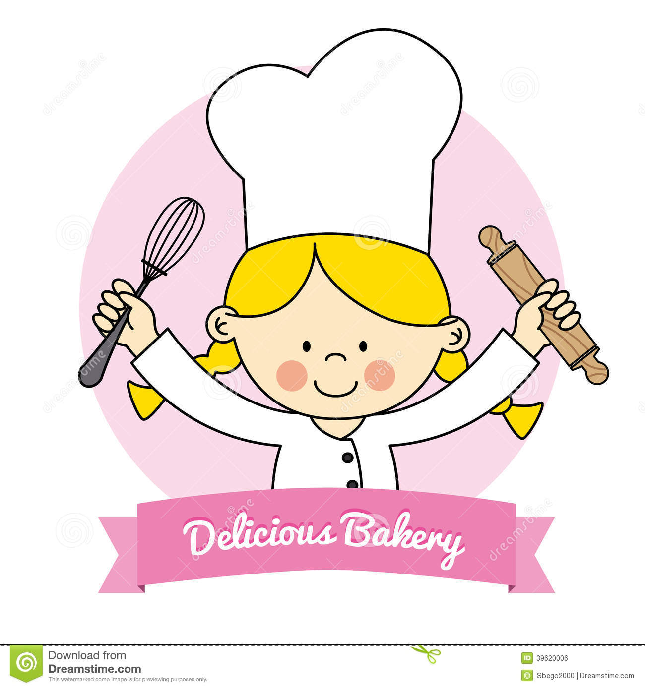 Little Chef Girl  Isolated Drawing Of A Girl With Kitchen Utensils