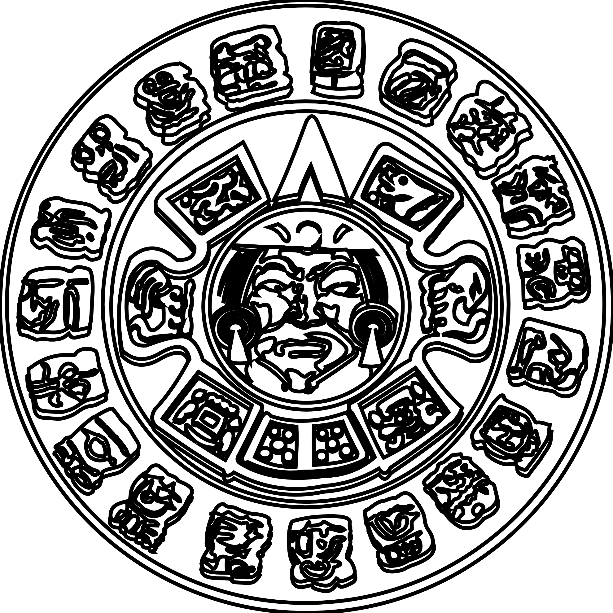 Maia Mayan Sun Black White Line Art Coloring Sheet Colouring Page
