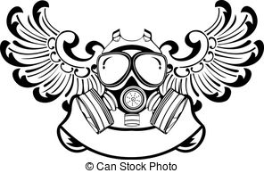One Color Wings Gas Mask  Vector Illustration  Vector Illustration