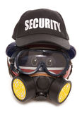 Piggy Bank Wearing Gas Mask And Security Hat Royalty Free Stock Image