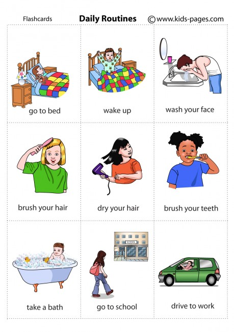 Daily Routines Flashcard