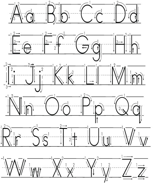 Number Names Worksheets uppercase letter tracing worksheets : Alphabet Handwriting Worksheets With Arrows - Intrepidpath