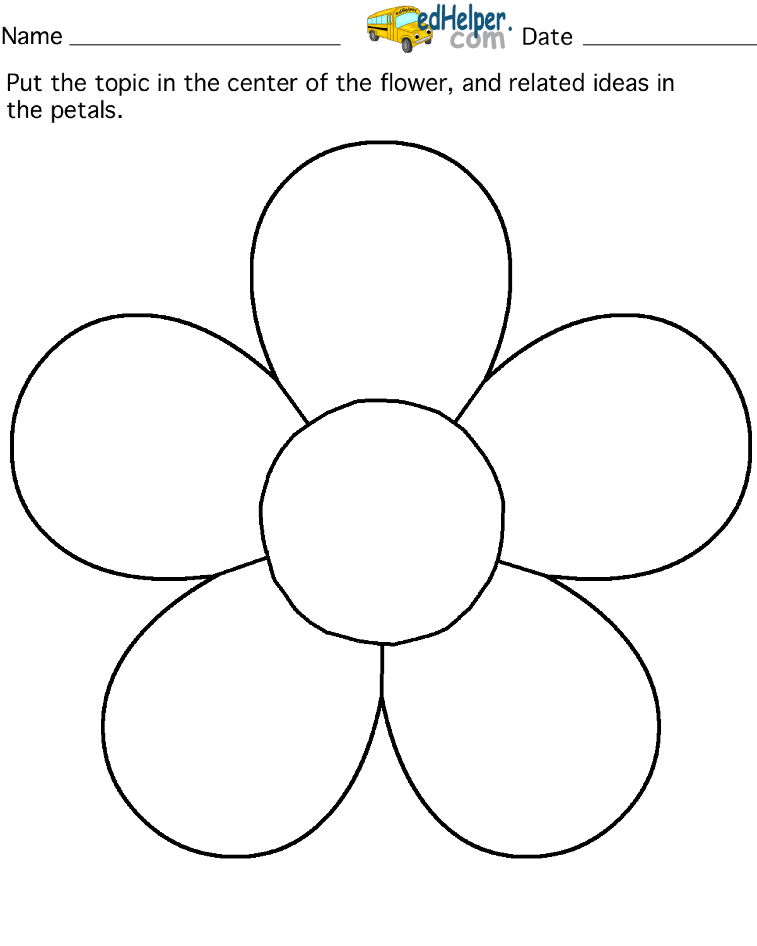 Flower Petal Outline Clipart - Clipart Kid Flower Template Printable ...