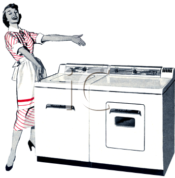 Retro Appliance Ad  Electric Washer And Dryer   Royalty Free Clip Art