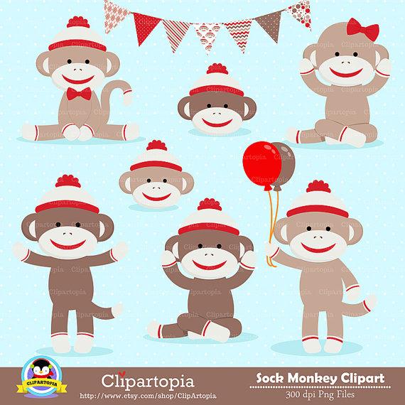 Clip Art Sock Monkey Clip Art sock monkey clipart kid digital red clip art cute monkey