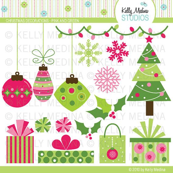 Christmas Decorations   Pink And Green Clip Art Set   Digital Elements
