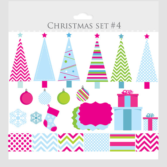 Christmas Trees Clip Art And Digital Papers  Clip Art For Scrapbooking