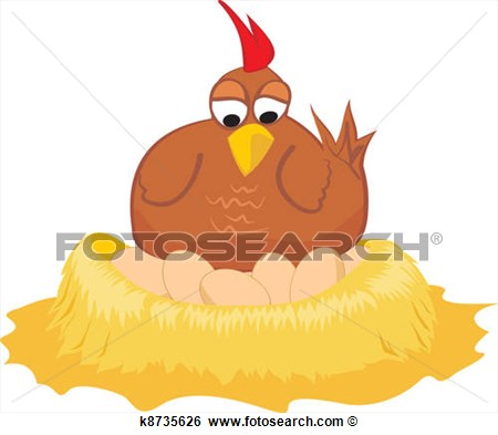 Clip Art   On The Nest   Hen And Eggs  Fotosearch   Search Clipart