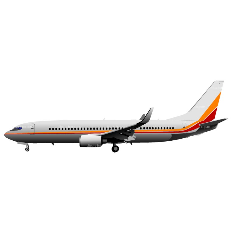 Clipart Boeing 737 Side View   Royalty Free Vector Design