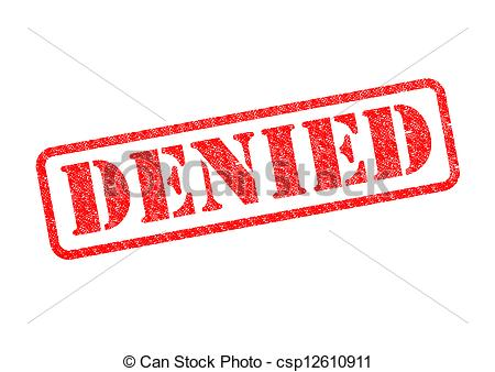 Clipart Of Denied   Denied Red Stamp Over A White Background