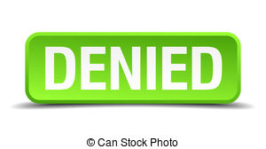 Denied Green 3d Realistic Square Isolated Button Clip Art