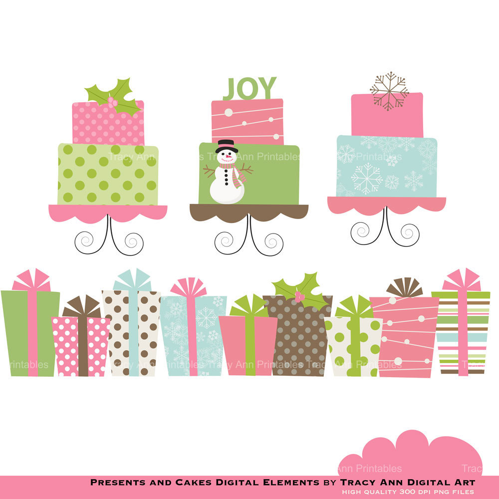 Items Similar To Pink Christmas Presents And Cakes   Clip Art Set