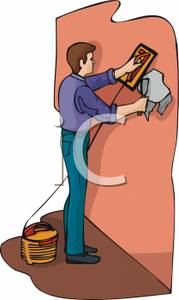 Man Using A Sander To Remove Wallpaper   Royalty Free Clipart Picture