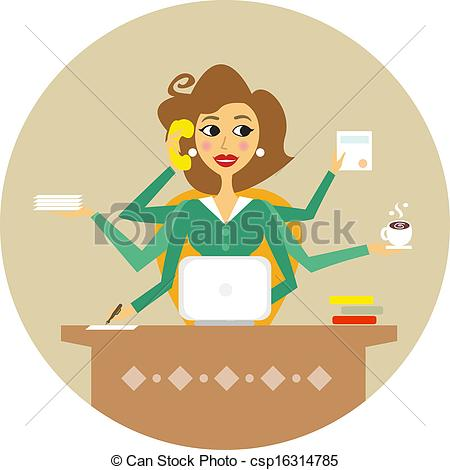 Personal Assistant Or Hard Working Secretary Symbol Vector