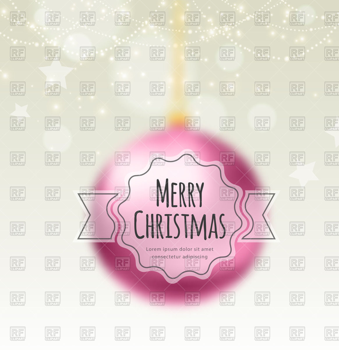 Pink Blurred Christmas Balls With Merry Christmas Label 47490