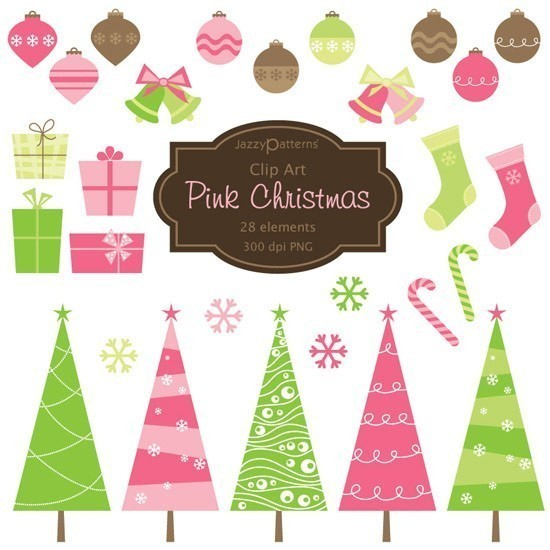 Pink Christmas Clipart For Scrapbooking Card Making Invitations