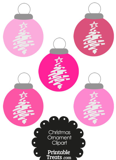 Pink Christmas Tree Christmas Ornament Clipart From Printabletreats