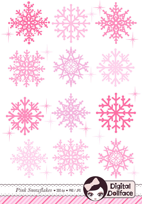 Pink Snowflake Clip Art Cute Christmas Clipart Holiday Digital Clip