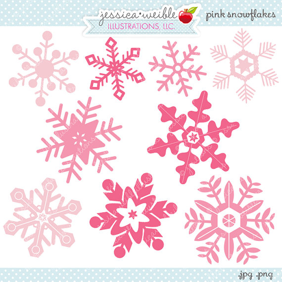 Pink Snowflakes Cute Digital Clipart   Commercial Use Ok   Christmas