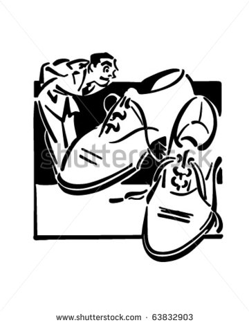 Remove Shoes Clipart Man Shopping For Shoes   Retro