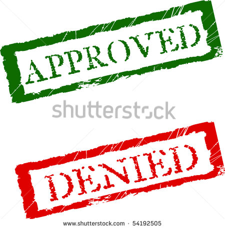 The Words Approved And Denied In Red And Green Color   Stock Vector