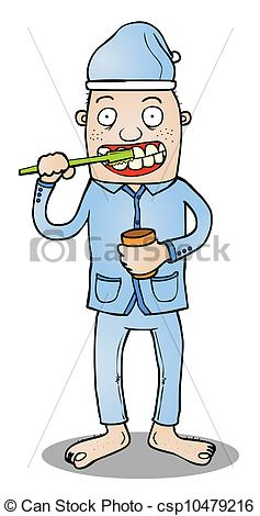 Vector Clip Art Of Toothbrushing Before Go To Bed   Represent A