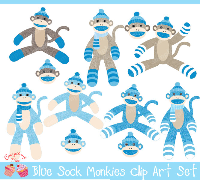 Blue Sock Monkeys Set By 1everythingnice On Etsy Clipart