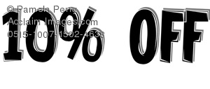 Clip Art Image Of A Price Cut Of 10  Off Banner   Acclaim Stock